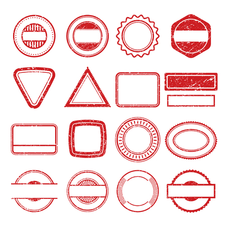 Rubber stamp frames. Grunge scratching post tampon insignia stamp vector templates isolated. Illustration of insignia stamp grunge, rubber post seal