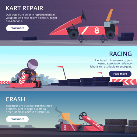 Karting cars. Banners with sport pictures of speed fast karting racing automobiles vector cartoon pictures. Championship kart racing, professional karting illustration