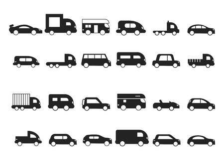 Car icons. Pictograms of black transport truck suv minivan vector silhouettes isolated. Hatchback car silhouette monochrome, auto minivan and cabrio illustration