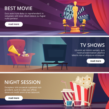 Cinema banners. Movie video and theater entertainment cartoon icons 3d glasses popcorn clapper megaphone vector design template. Best movie and television show, night session cinema illustration Vector Illustration