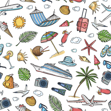 Vector hand drawn summer travel elements background or pattern illustration. Summer pattern seamless, travel and holiday drawing