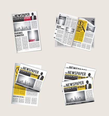 Iconos de periódicos. Colección de periodista de lectura de noticias diarias con títulos de tabloide, símbolos vectoriales del periódico. Pila y pila de noticias con la ilustración del titular