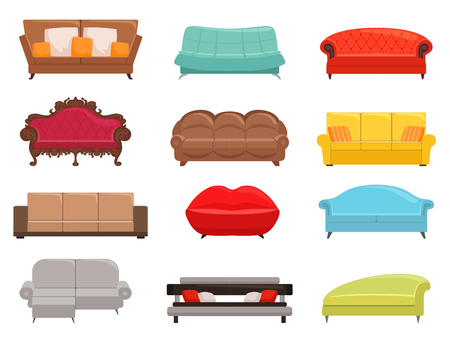 Beds collection. Comfortable sofa set, interior couch furniture, modern divan colored vector illustrations on white Vector Illustratie