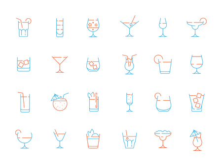 Alcohol drink glass icon. Martini shaking champagne margarita lime alcohol bar colored vector symbols. Illustration of color cocktail and champagne, whiskey and alcoholic beverage Stock Vector - 123416160