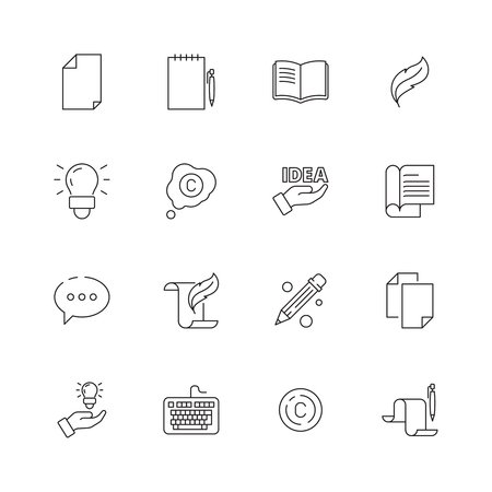 Copywriting icon. Writing creative articles book pen symbols blogging writers vector thin line pictures. Copywriting writer blog and idea illustration
