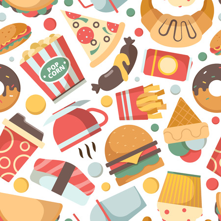 Fast food pattern. Restaurant menu pictures pizza hamburger ice cream sandwich cold drinks snack vector seamless background. Seamless fast food pattern, burger sandwich and pizza illustration 向量圖像
