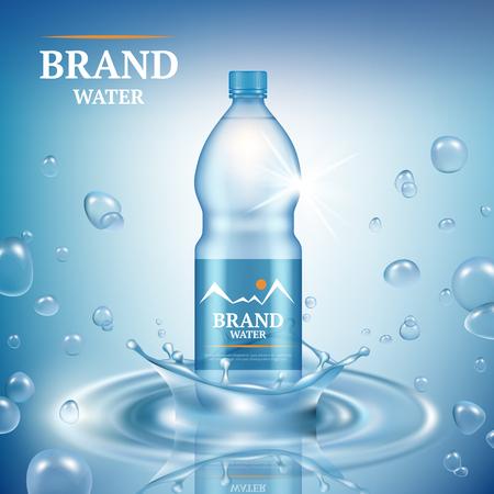 Aqua-Werbung. Natürliches flüssiges Mineralwasser lässt kommerzielle Plakat-Merchandising-Plastikflasche spritzt vektorrealistische Vorlage. Illustration von Aqua-Mineral-Flaschenplastik