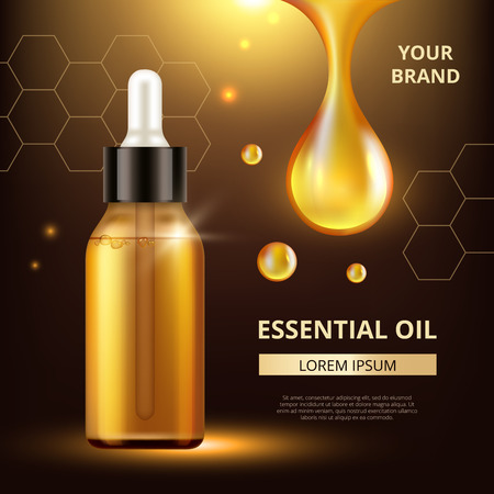 Cosmetics oil poster. Golden transparent drops of oil extract for woman cream or liquid cosmetic q10 collagen vector template. Extract oil, golden collagen droplet illustration