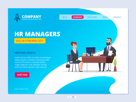 Interview landing. Hr manager director male dialogue with female worker business website layout design vector template. Business recruitment candidate, hr career illustration Ilustrace