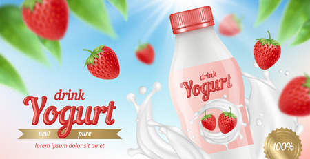 Yogurt advertizing. Placard with package of fruit yogurt milk and cream splashes healthy food desserts vector picture. Illustration of yogurt fruit strawberry, packaging food with splash