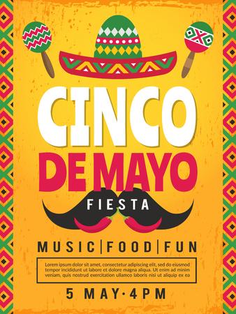 Poster della festa messicana. Modello di progettazione di invito a una festa. Festa messicana di vettore, illustrazione della carta di cinco de mayo Vettoriali