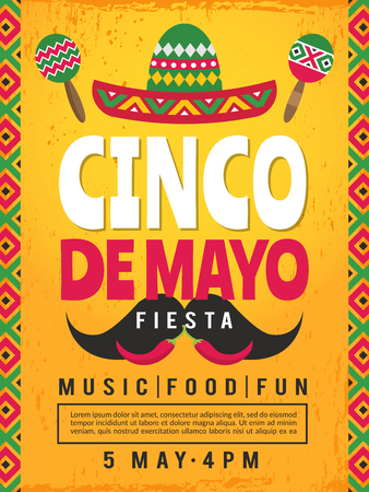 Poster of mexican fiesta. Design template of party invitation. Vector mexican fiesta, cinco de mayo card illustration Vector Illustratie
