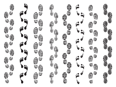 Footprints shapes. Movement direction of human shoes boots walking footprints vector silhouettes. Footprint and imprint trail, footwear human walking illustration