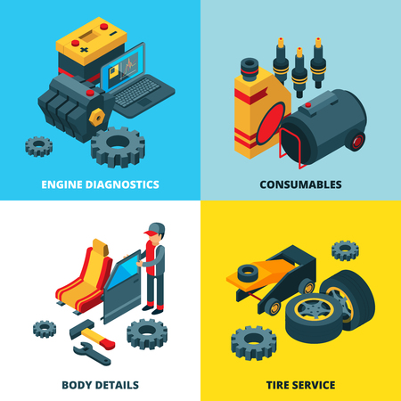 Car parts collection. Engine automobile wheels accumulator transmission gears vector isometric pictures. Repair auto, automobile service illustration