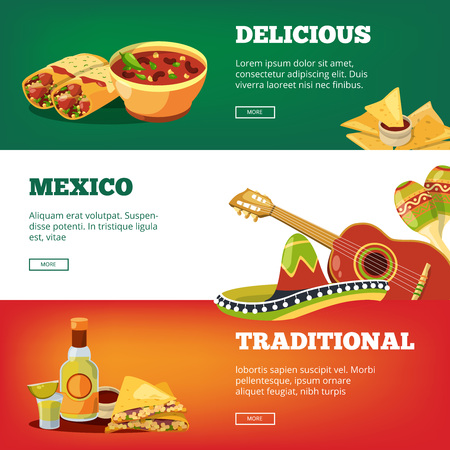 Mexican food banners. National traditional cuisine mexico quesadillas tequila salsa sauce chilli pancho guitar maracas vector pictures. Mexican food and sauce, tortilla and fresh burrito illustration