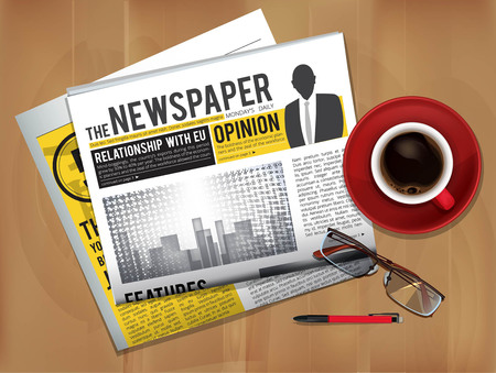 Newspaper with coffee cup. Magazine or newspaper press cover top view on table breakfast news with hot tea vector picture. Newspaper and coffee of cup, news page information illustration