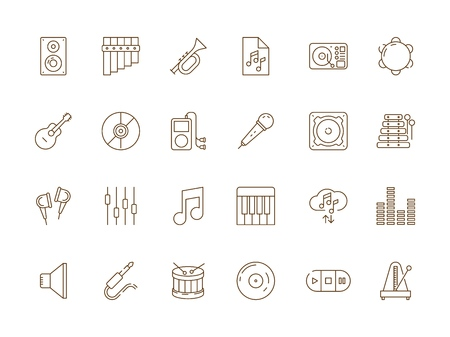 Music icon. Musical audio dj studio equipment guitar piano microphone vector thin line pictures. Illustration of studio device, piano and microphone, guitar and equipment Illustration