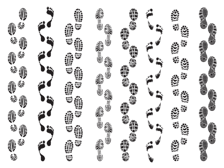 Footprints shapes. Movement direction of human shoes boots walking footprints vector silhouettes. Footprint and imprint trail, footwear human walking illustration