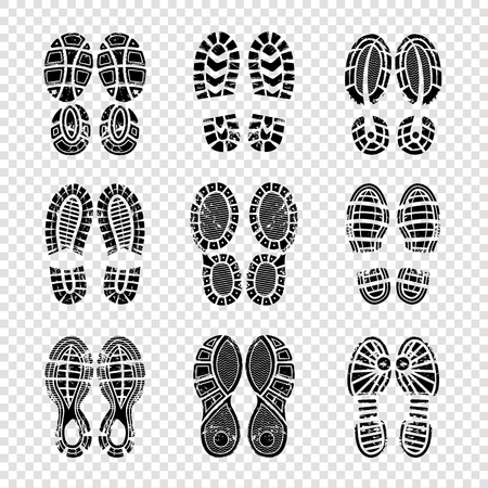 Footprint human. Walking boots soles steps silhouettes vector template printing texture. Illustration of imprint and footprint, foot silhouette