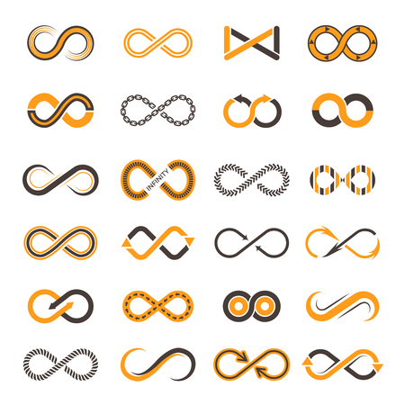 Infinity icons. Contouring shapes of eternity vector two-color symbols. Illustration of infinity and eternity figure, dynamic chain continual