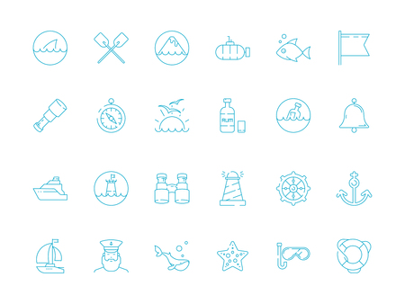 Marine icon. Nautical symbols sailing knot rope sea fish sailing boat ship vector thin pictures. Marine boat and fish, yacht and submarine icons illustration Çizim