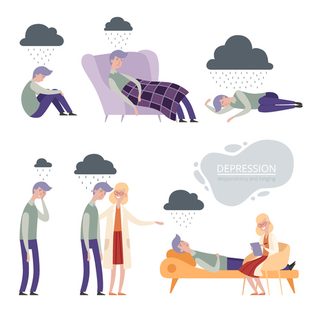 Depression. Alone unhappy frustrated vector character, lonely depressed sleep, psychologist therapy. Illustration of psychologist and man in depression