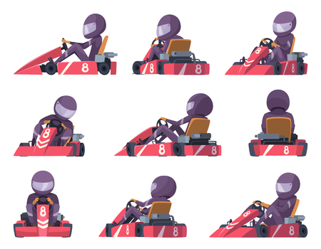 Karting racers. Sport speed cars competition vector karting automobile illustrations. Extreme speed kart, auto sport Çizim