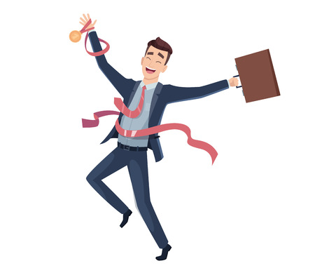 Business victory. Happy businessman character big award leadership finishing vector cartoon mascot. Businessman success on finish line, business man achievement victory illustration