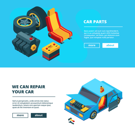 Car parts banners. Auto service with specific tools transmission engine gear wheels accumulator batteries vector isometric collection. Car service, accumulator and transmission illustration
