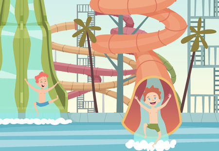 Water park games. Funny attractions for kids swimming jumping and playing in water outdoor pools vector cartoon background. Aquapark activity, waterpark with pipe, waterslide illustration