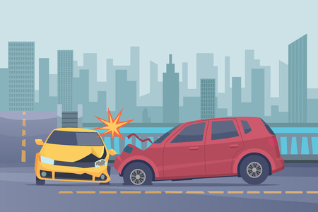 Accident road background. Damaged spped cars in urban landscape emergency help broken transport vector pictures. Illustration of crash transport on road, broken auto collision Иллюстрация