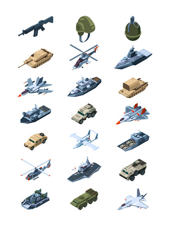 Military isometric. Security guards in uniform soldiers with tanks all-terrain vehicle machine guns grenades shields vector collection. Illustration of military war machine, isometric transport Ilustración de vector