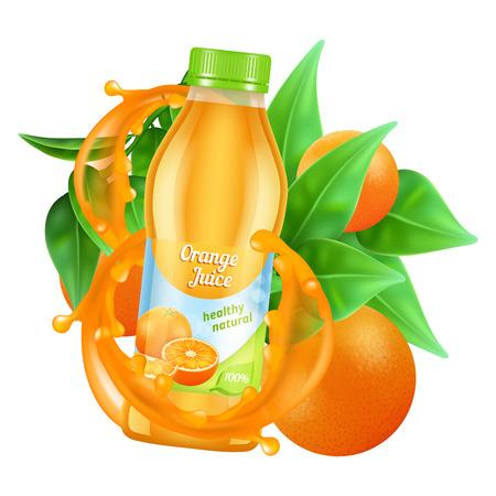 Fresh orange juice vector. Realistic juice bottle, leaves and orange isolated on white background. Healthy juicy and fresh orange beverage illustration