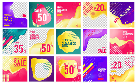 Offers banners. Editable simple business promo media layout vector banners template. Illustration of advertising sale offer, post for shopping ad Illusztráció