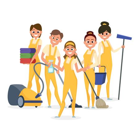 Los mejores personajes de vector de personal de limpieza aislados sobre fondo blanco. Ilustración del personal de limpieza profesional, equipo de limpieza de servicio