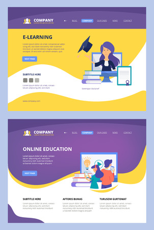 Online courses. Landing web learning training center school university internet distance consultant vector business site page template. Illustration of distance training page, banner education