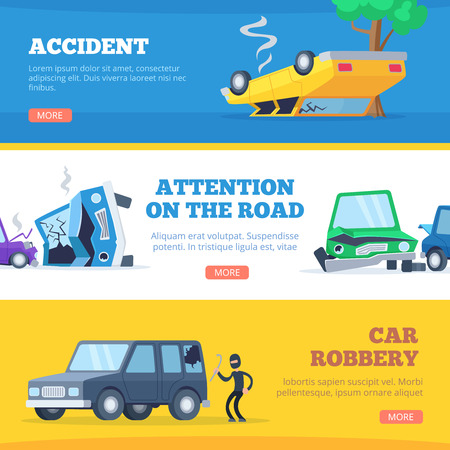 Car accidents. Damaged and broken automobiles scene of carsh cars vector pictures for banners. Auto crash, collision vehicle, automobile damage and broken illustration