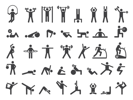 Fitness symbols. Sport exercise stylized people making exercises vector icon. Fitness exercise, training activity, workout and stretching illustration Stock Illustratie