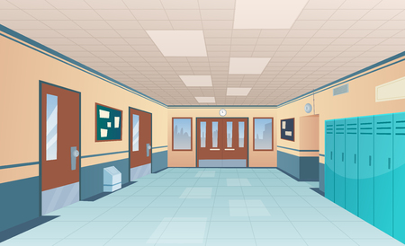 School corridor. Bright college interior of big hallway with doors classroom with desks without kids vector cartoon picture. Interior of corridor hallway, floor and entrance highschool illustration Vectores