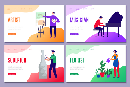 Creative profession landing. Web pages of business sites with creative people artists sculptor draws actors vector stilized characters. Profession sculptor artist, musician and carver illustration Illustration