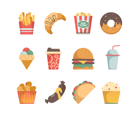 Fast food icons. Hamburger pizza sausages snacks sandwich ice cream food menu vector flat pictures. Illustration of snack, burger and sandwich, hamburger and ice cream