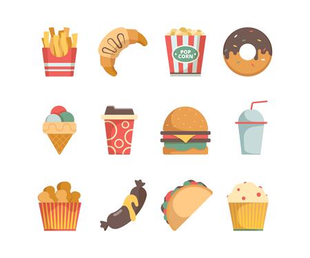 Fast-Food-Symbole. Hamburger Pizza Würstchen Snacks Sandwich Eis Essen Menü Vektor flache Bilder. Illustration von Snack, Burger und Sandwich, Hamburger und Eis?