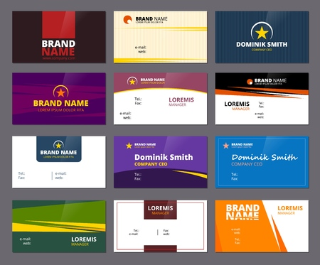 Business visit cards. Colored office corporate or personal id cards with place for text vector creative design project. Illustration of office card identity name, contact email address Ilustração Vetorial
