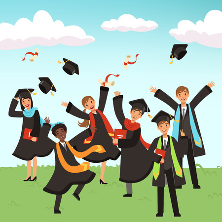 Happy international graduates with diplomas and graduation hats vector illustration. Illustration of university and school happy graduate students