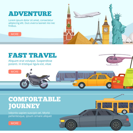Travel banners. Globe adventure transport travellers landmarks london paris new york russia comfortable cars airplane tourists vector. Illustration of tourism, fast transport for adventure