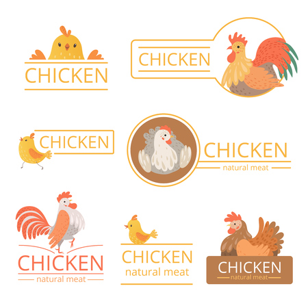 Pollo logo. Chicken illustrations for farm identity organic food meat of bird advertizing vector template. Illustration of farm chicken bird, logotype poultry meat Illustration