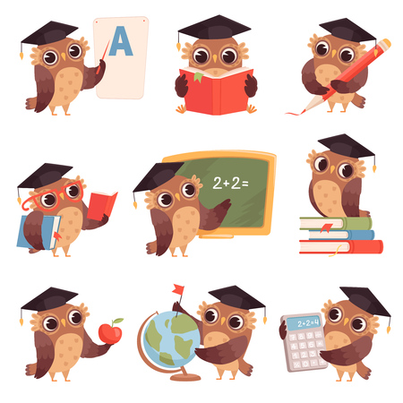 Owl school. Teacher birds characters teaching reading writing owls cartoon collection. Bird teacher owl, mascot of studying and teaching illustration Vectores