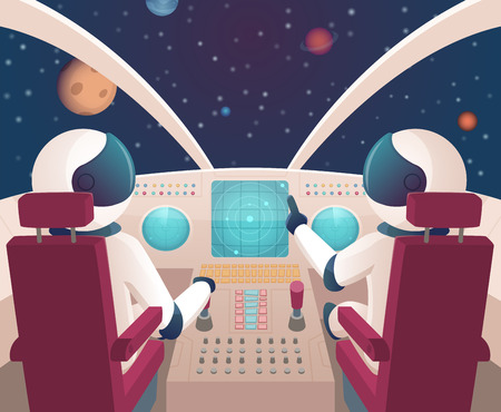 Pilots in spaceship. Shuttle cockpit with pilots in costumes vector cartoon space with planets. Illustration of rocket space cockpit interior with astronauts