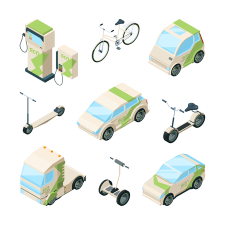 Eco transport. Cars electric scooter skate bikes gyrocopter bus isometric ecology technics vector pictures. Car isometric transportation, transport electrical urban illustration