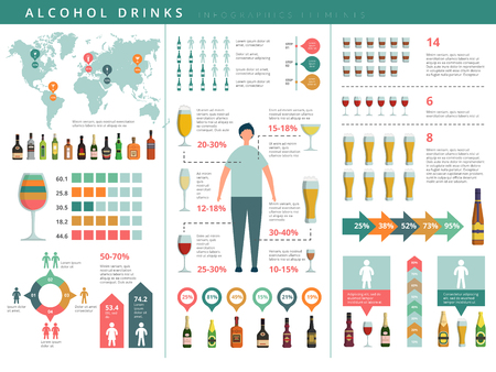 Drink infographic. Glass and alcohol drinks bottles business world info about drinking people vector template. Alcohol drink infographic, beer and whiskey illustration